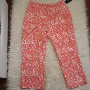 Pink floral pants high waisted